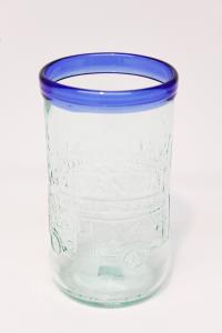 Drikkeglas af Galvanina flaske med blå kant